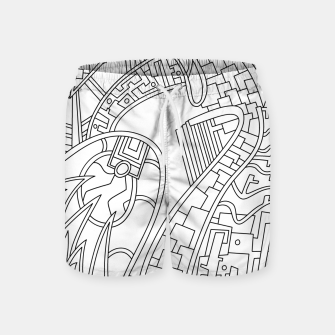 Thumbnail image of Wandering Abstract Line Art 42: Black & White Swim Shorts, Live Heroes