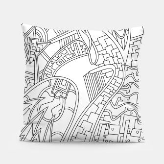 Thumbnail image of Wandering Abstract Line Art 42: Black & White Pillow, Live Heroes