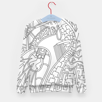 Thumbnail image of Wandering Abstract Line Art 42: Black & White Kid's sweater, Live Heroes
