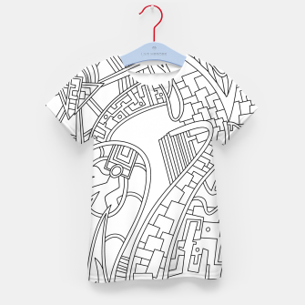Thumbnail image of Wandering Abstract Line Art 42: Black & White Kid's t-shirt, Live Heroes