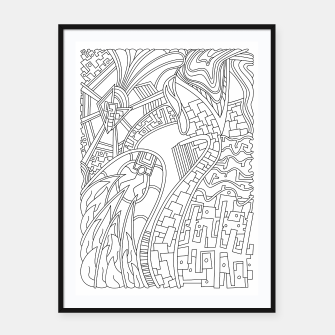 Thumbnail image of Wandering Abstract Line Art 42: Black & White Framed poster, Live Heroes