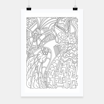 Thumbnail image of Wandering Abstract Line Art 42: Black & White Poster, Live Heroes