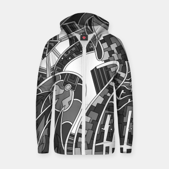Thumbnail image of Wandering Abstract Line Art 42: Grayscale Zip up hoodie, Live Heroes