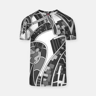 Thumbnail image of Wandering Abstract Line Art 42: Grayscale T-shirt, Live Heroes