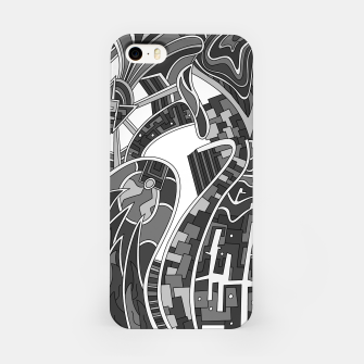 Thumbnail image of Wandering Abstract Line Art 42: Grayscale iPhone Case, Live Heroes