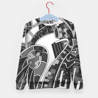 Thumbnail image of Wandering Abstract Line Art 42: Grayscale Kid's sweater, Live Heroes