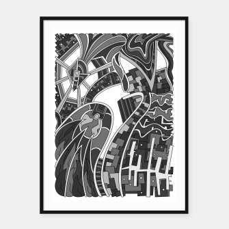 Thumbnail image of Wandering Abstract Line Art 42: Grayscale Framed poster, Live Heroes