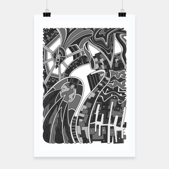Thumbnail image of Wandering Abstract Line Art 42: Grayscale Poster, Live Heroes