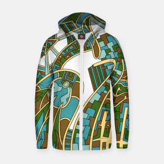 Thumbnail image of Wandering Abstract Line Art 42: Green Zip up hoodie, Live Heroes