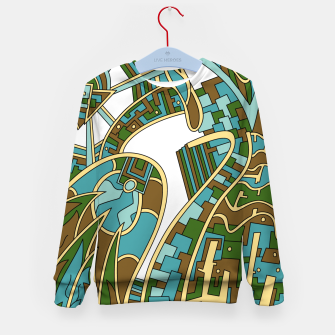 Thumbnail image of Wandering Abstract Line Art 42: Green Kid's sweater, Live Heroes