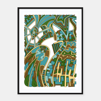 Thumbnail image of Wandering Abstract Line Art 42: Green Framed poster, Live Heroes