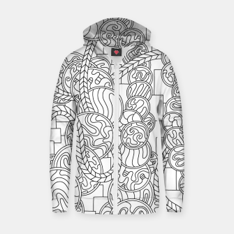 Thumbnail image of Wandering Abstract Line Art 43: Black & White Zip up hoodie, Live Heroes
