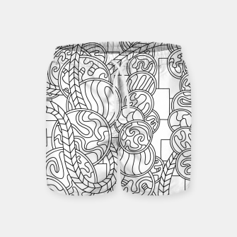 Thumbnail image of Wandering Abstract Line Art 43: Black & White Swim Shorts, Live Heroes