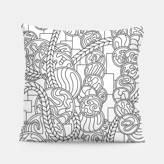 Thumbnail image of Wandering Abstract Line Art 43: Black & White Pillow, Live Heroes