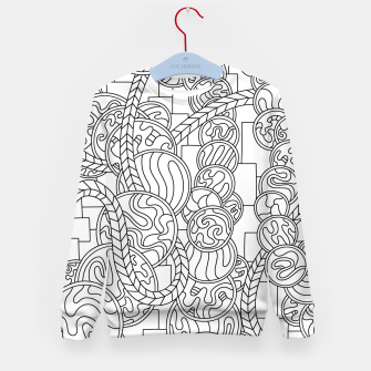 Thumbnail image of Wandering Abstract Line Art 43: Black & White Kid's sweater, Live Heroes