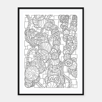 Thumbnail image of Wandering Abstract Line Art 43: Black & White Framed poster, Live Heroes
