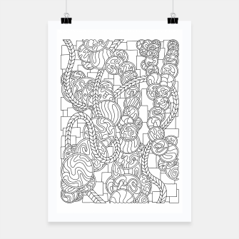Thumbnail image of Wandering Abstract Line Art 43: Black & White Poster, Live Heroes