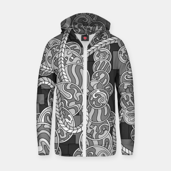 Thumbnail image of Wandering Abstract Line Art 43: Grayscale Zip up hoodie, Live Heroes