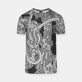 Thumbnail image of Wandering Abstract Line Art 43: Grayscale T-shirt, Live Heroes
