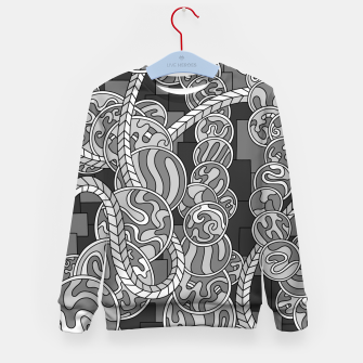 Thumbnail image of Wandering Abstract Line Art 43: Grayscale Kid's sweater, Live Heroes