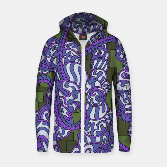Thumbnail image of Wandering Abstract Line Art 43: Purple Zip up hoodie, Live Heroes