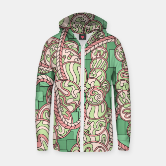 Thumbnail image of Wandering Abstract Line Art 43: Green Zip up hoodie, Live Heroes