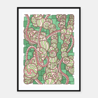Thumbnail image of Wandering Abstract Line Art 43: Green Framed poster, Live Heroes