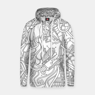 Thumbnail image of Wandering Abstract Line Art 44: Black & White Hoodie, Live Heroes