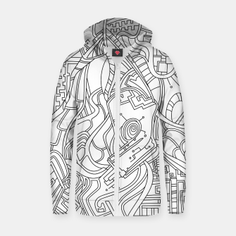 Thumbnail image of Wandering Abstract Line Art 44: Black & White Zip up hoodie, Live Heroes