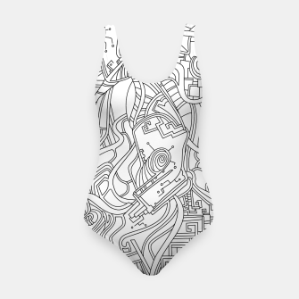 Thumbnail image of Wandering Abstract Line Art 44: Black & White Swimsuit, Live Heroes