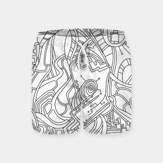 Thumbnail image of Wandering Abstract Line Art 44: Black & White Swim Shorts, Live Heroes