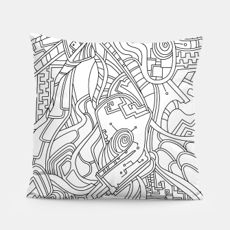 Thumbnail image of Wandering Abstract Line Art 44: Black & White Pillow, Live Heroes