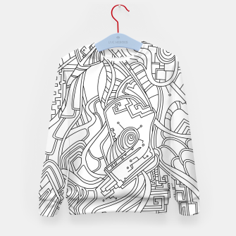 Thumbnail image of Wandering Abstract Line Art 44: Black & White Kid's sweater, Live Heroes