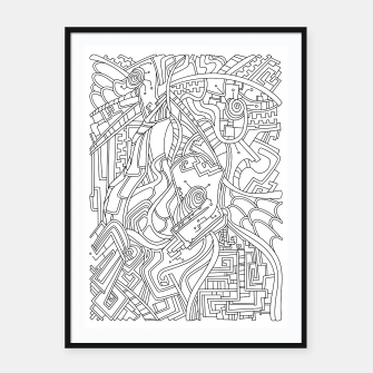 Thumbnail image of Wandering Abstract Line Art 44: Black & White Framed poster, Live Heroes