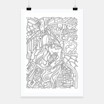 Thumbnail image of Wandering Abstract Line Art 44: Black & White Poster, Live Heroes