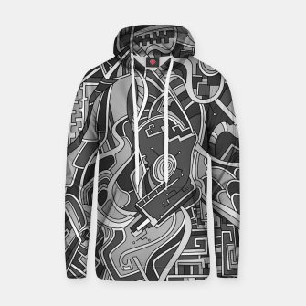 Thumbnail image of Wandering Abstract Line Art 44: Grayscale Hoodie, Live Heroes