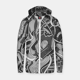 Thumbnail image of Wandering Abstract Line Art 44: Grayscale Zip up hoodie, Live Heroes