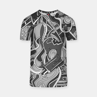 Thumbnail image of Wandering Abstract Line Art 44: Grayscale T-shirt, Live Heroes