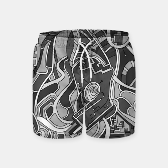 Thumbnail image of Wandering Abstract Line Art 44: Grayscale Swim Shorts, Live Heroes
