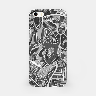 Thumbnail image of Wandering Abstract Line Art 44: Grayscale iPhone Case, Live Heroes