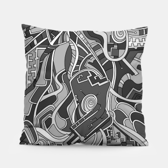Thumbnail image of Wandering Abstract Line Art 44: Grayscale Pillow, Live Heroes