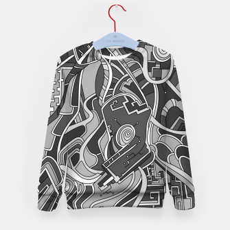 Thumbnail image of Wandering Abstract Line Art 44: Grayscale Kid's sweater, Live Heroes