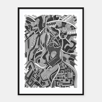 Thumbnail image of Wandering Abstract Line Art 44: Grayscale Framed poster, Live Heroes