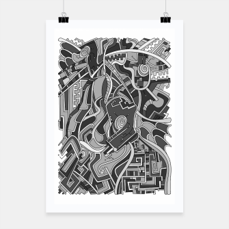 Thumbnail image of Wandering Abstract Line Art 44: Grayscale Poster, Live Heroes