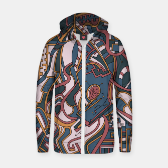 Thumbnail image of Wandering Abstract Line Art 44: Orange Zip up hoodie, Live Heroes