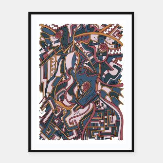 Thumbnail image of Wandering Abstract Line Art 44: Orange Framed poster, Live Heroes