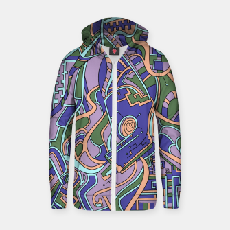 Thumbnail image of Wandering Abstract Line Art 44: Purple Zip up hoodie, Live Heroes