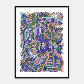 Thumbnail image of Wandering Abstract Line Art 44: Purple Framed poster, Live Heroes