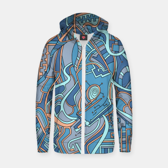 Thumbnail image of Wandering Abstract Line Art 44: Blue Zip up hoodie, Live Heroes