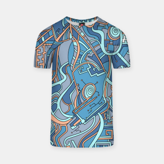 Thumbnail image of Wandering Abstract Line Art 44: Blue T-shirt, Live Heroes